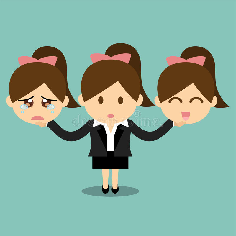 Businesswoman holding happy and sad emotions face royalty free illustration