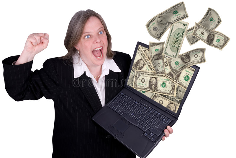 Businesswoman holding a laptop royalty free stock images