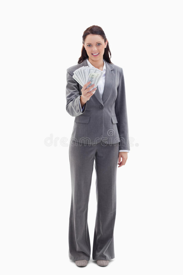 Download Businesswoman Holding A Lot Of Dollar Bank Notes Stock Photo - Image: 23012096