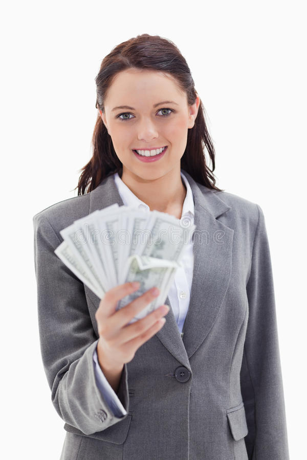 Download Businesswoman Holding A Lot Of Dollar Bank Notes Stock Photo - Image: 23012108