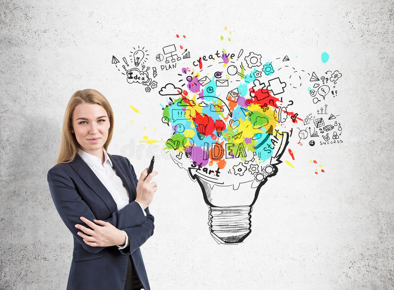 Businesswoman holding a marker and standing near a concrete wall with a large and colorful start up sketch and a light bulb royalty free stock photo
