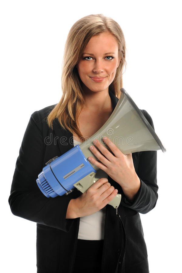 Download Businesswoman Holding Megaphone Stock Photo - Image of loud, business: 22382392