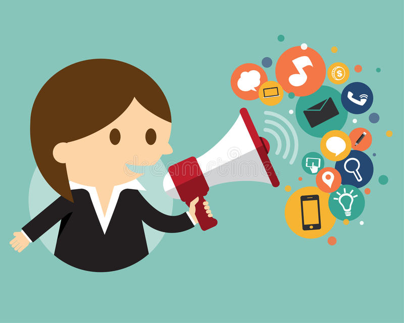 Businesswoman holding a megaphone with cloud of ic vector illustration