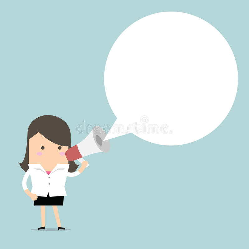 Businesswoman holding megaphone with speech bubble for text stock illustration