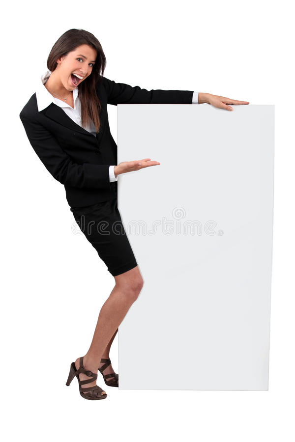 Download Businesswoman Holding Message Board Stock Photo - Image of pointing, sign: 25859674