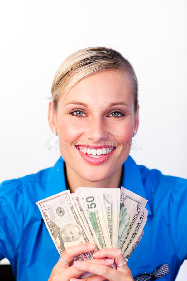 Download Businesswoman Holding Money In Her Hands Stock Photo - Image: 10278314