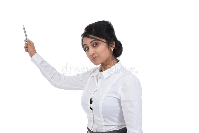 Businesswoman holding a pen stock photo