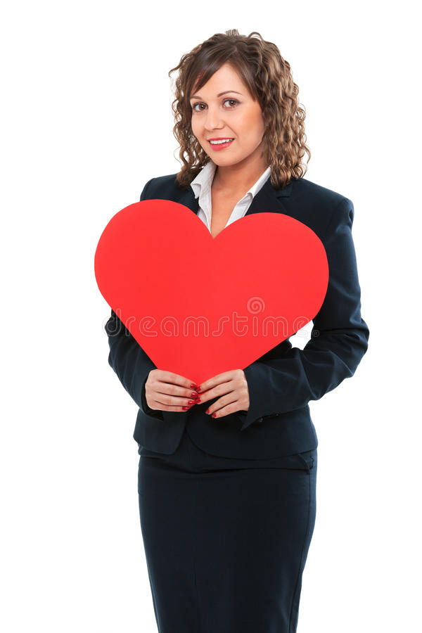 Businesswoman holding red paper heart. Like a valentine card royalty free stock photos