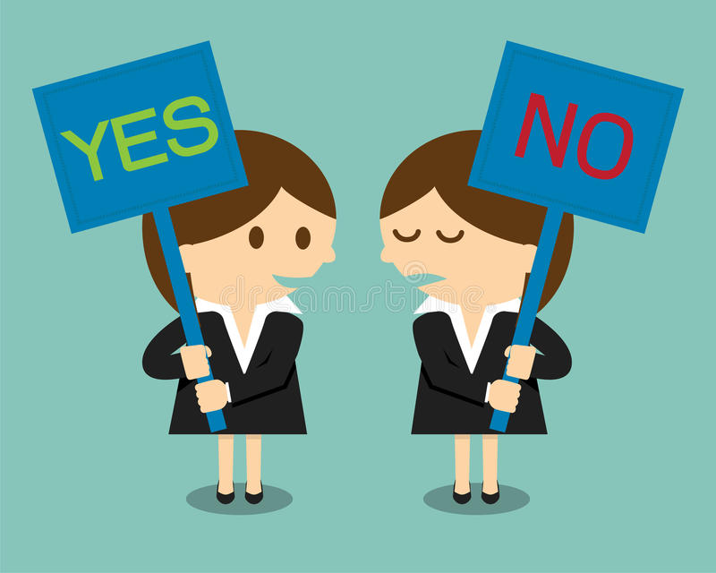 Businesswoman holding a signboard with the word yes or no royalty free illustration