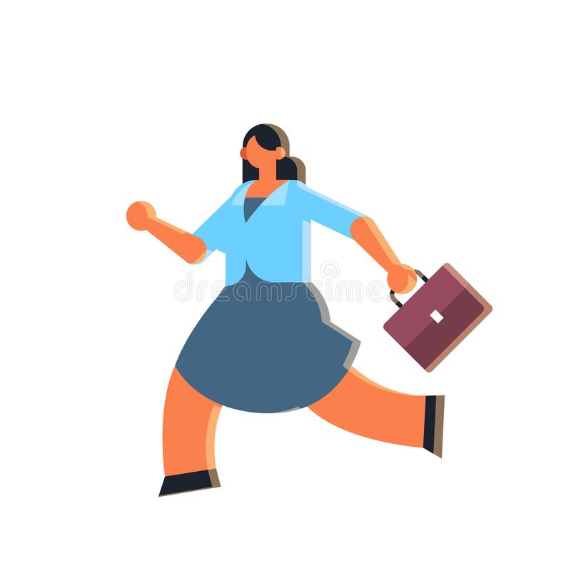 Businesswoman holding suitcase overworked business woman running with briefcase deadline concept female office worker in stock illustration