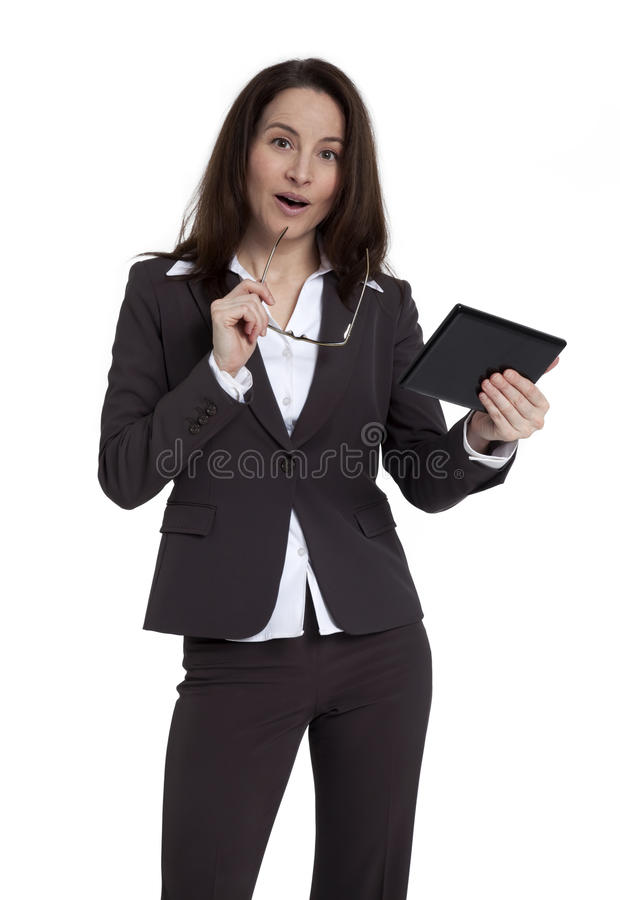 Download Businesswoman Holding Tablet Device Stock Photo - Image: 23067140