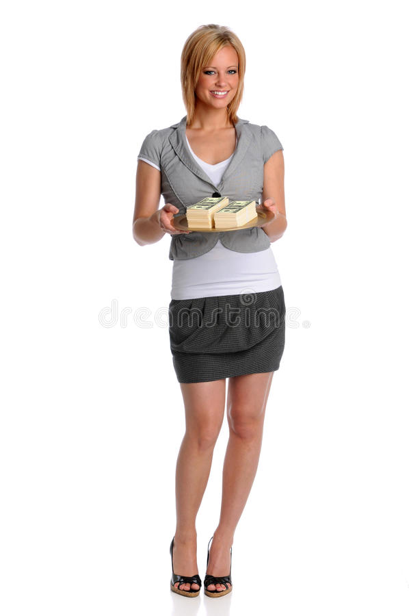 Download Businesswoman Holding Tray With Money Stock Image - Image: 9837245