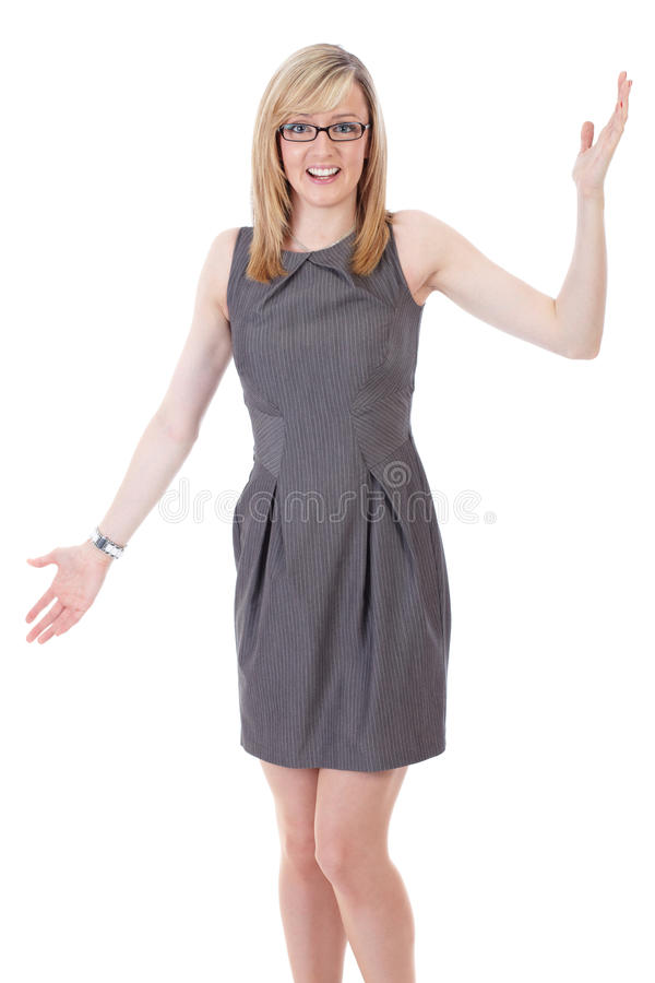 Download Businesswoman Holds Her Arms Wide Open Stock Photo - Image: 21604228