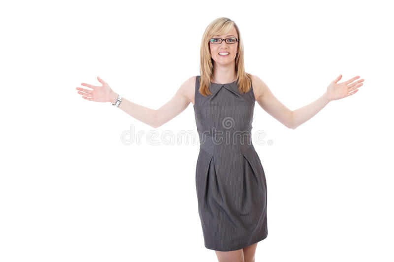 Download Businesswoman Holds Her Arms Wide Open Royalty Free Stock Photography - Image: 21604237