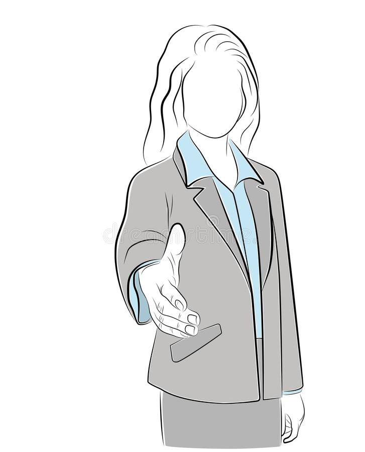 Businesswoman holds out her hand. understanding. Contract. vector illustration. royalty free illustration