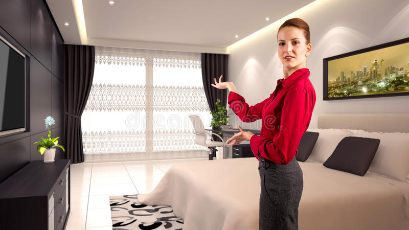 Businesswoman in a Hotel stock images