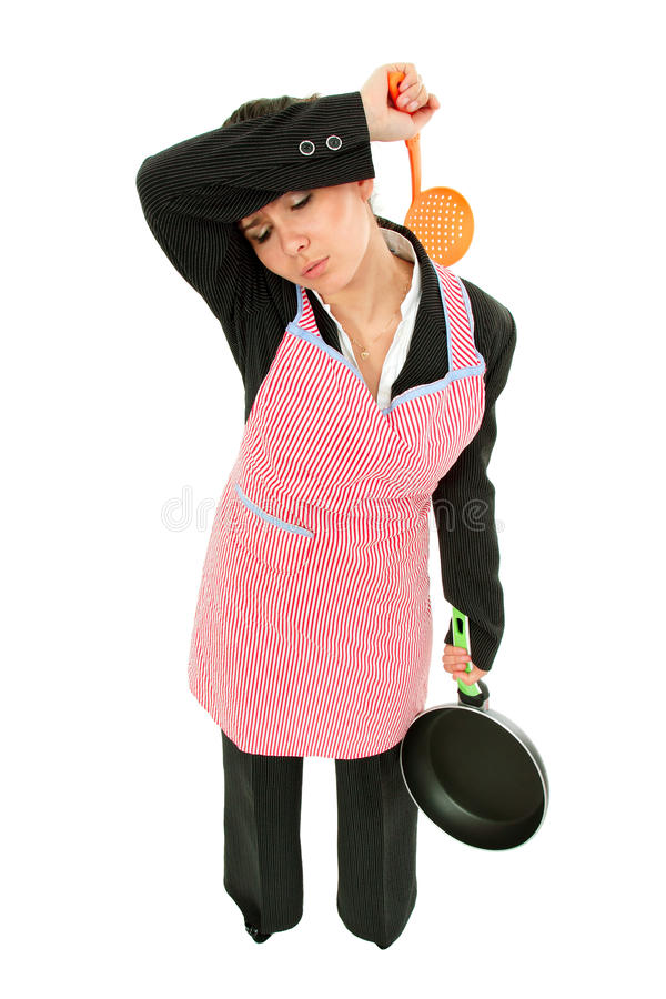 Businesswoman and housewife tired - universal super woman royalty free stock photography