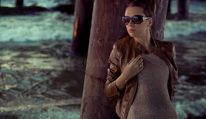 Businesswoman With Huge Sunglasses Royalty Free Stock Image
