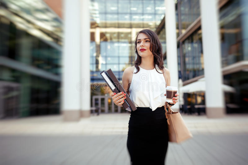 Businesswoman in a hurry royalty free stock photo