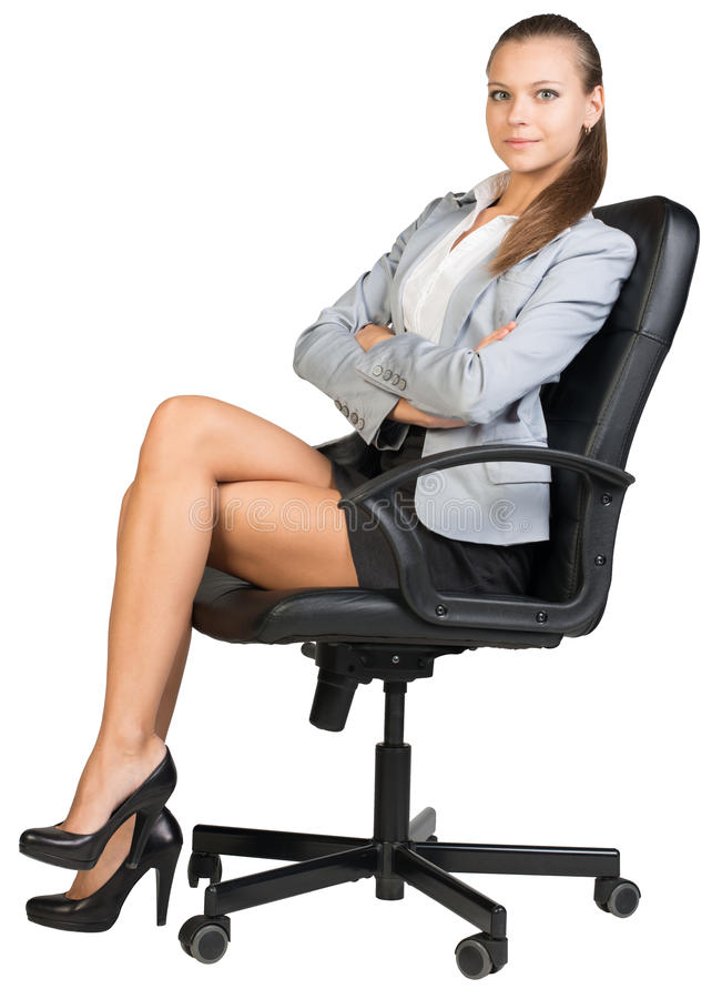 Free Businesswoman In Office Chair With Straight Back Royalty Free Stock Photos - 49293358