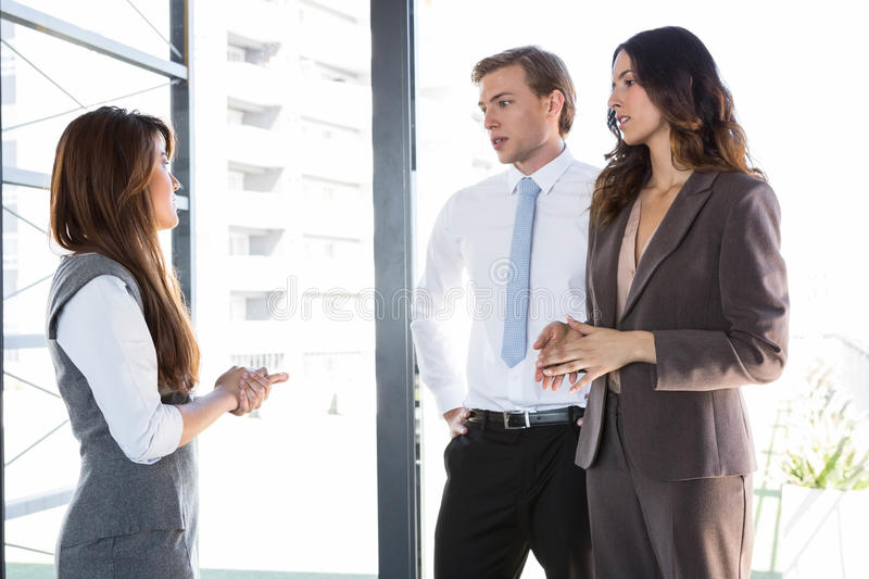 Businesswoman interacting with team stock photos