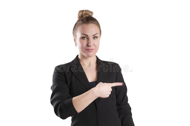 Businesswoman in a jacket index finger gesture royalty free stock photography