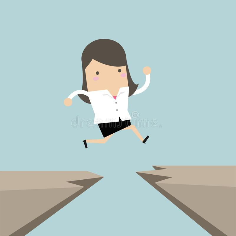 Businesswoman jump through the gap from one cliff to another. Vector stock illustration