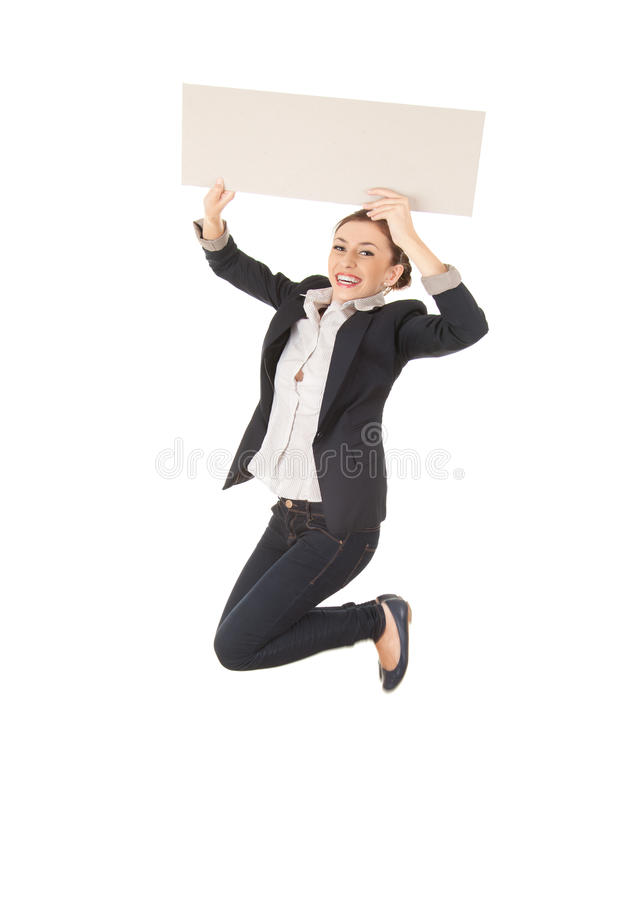 Download Businesswoman Jumping With Blank Empty Billboard Stock Photo - Image: 26684722