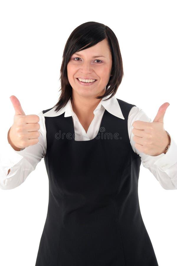 businesswoman kciuki w górę obrazy stock