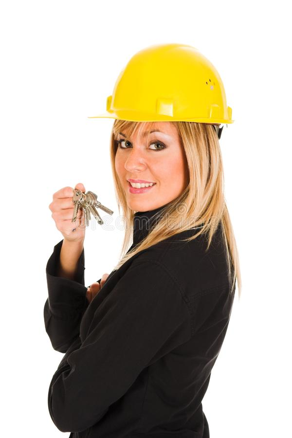 A businesswoman with keys royalty free stock photos