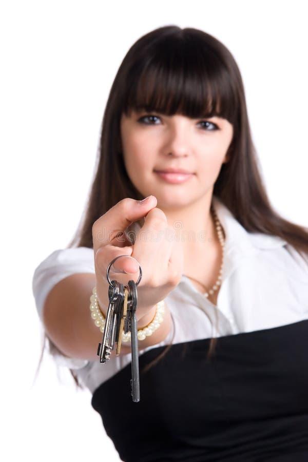 businesswoman keys stretching στοκ εικόνες