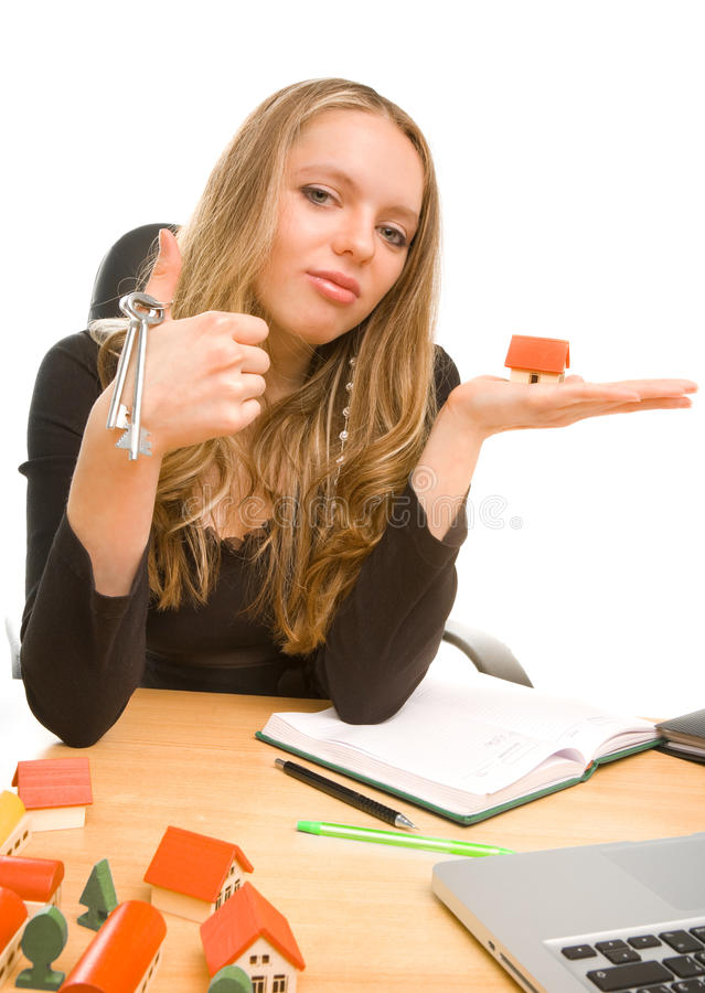 Download Businesswoman With Keys And Toy House At Office Stock Photo - Image: 13146490