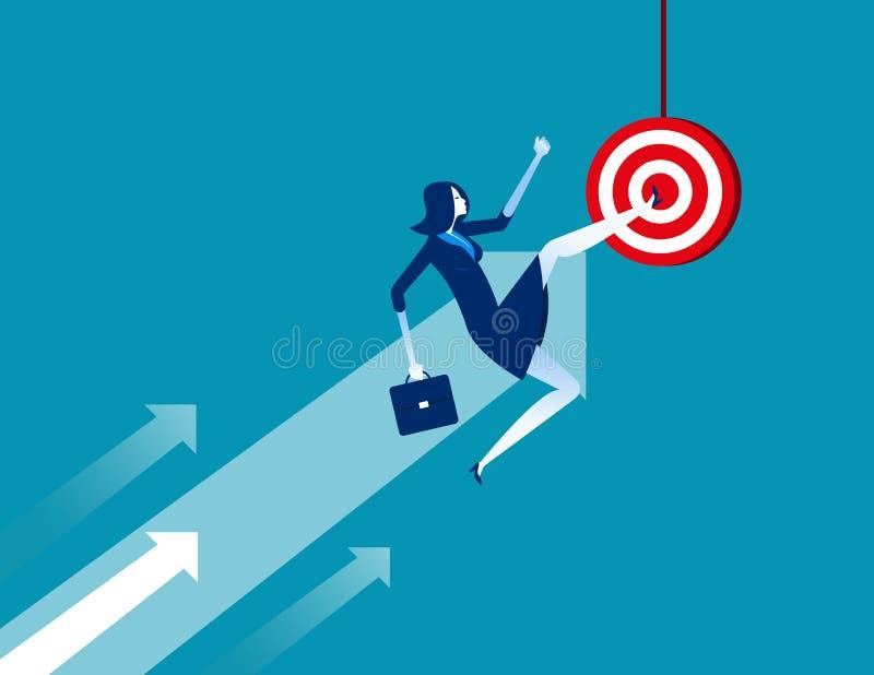 Businesswoman kicking target. Concept business vector illustration. Flat cartoon character, success, arrow symbol royalty free illustration