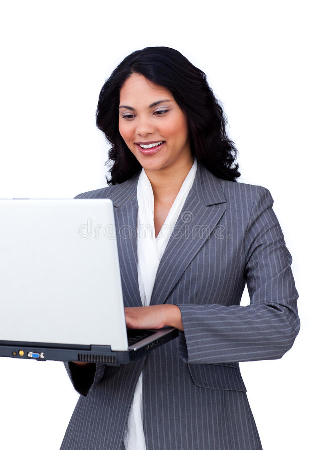 Download Businesswoman on a laptop stock image. Image of happy - 12401533