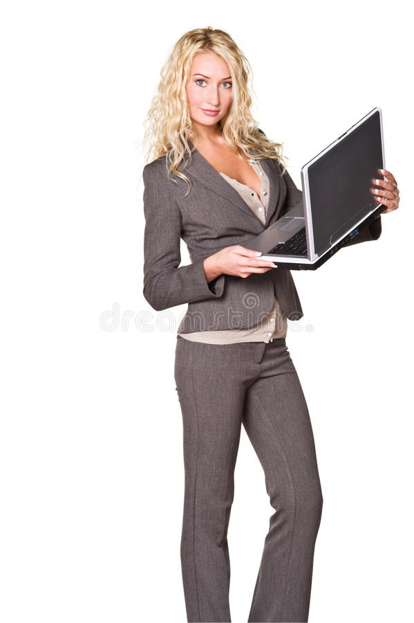 Businesswoman with laptop. Young businesswoman holding her laptop isolated on white stock photo