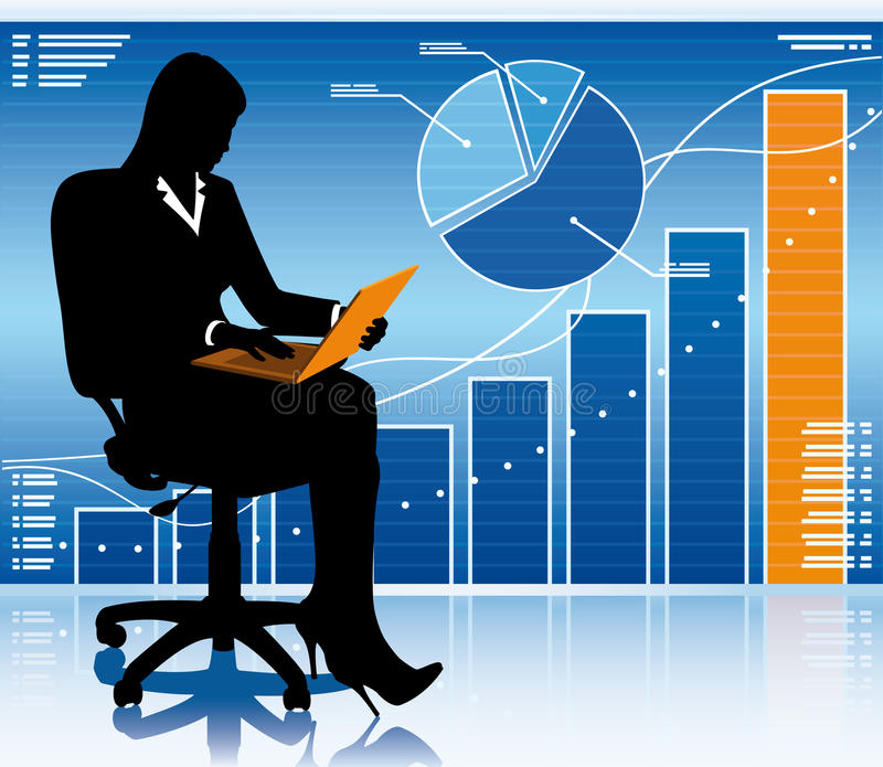 Businesswoman with laptop royalty free illustration