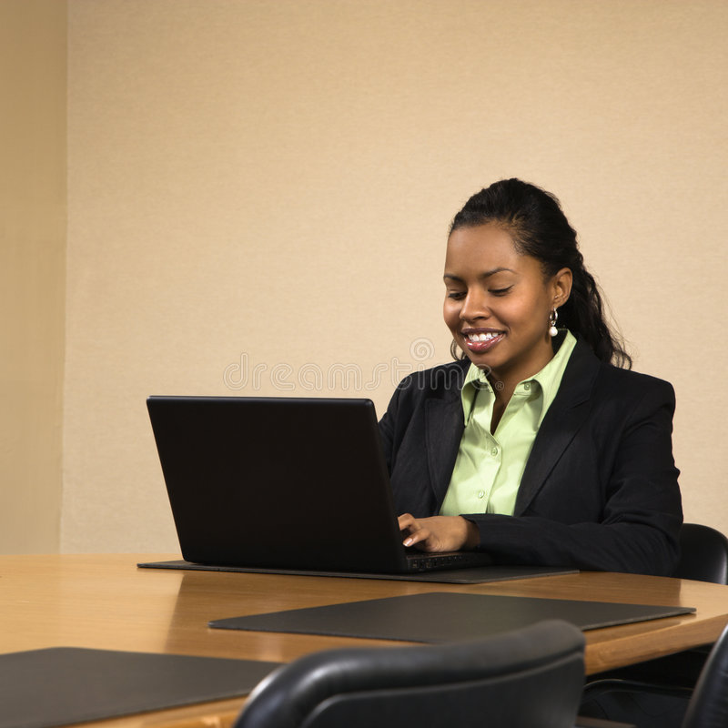 Download Businesswoman with laptop. stock image. Image of square - 3614421