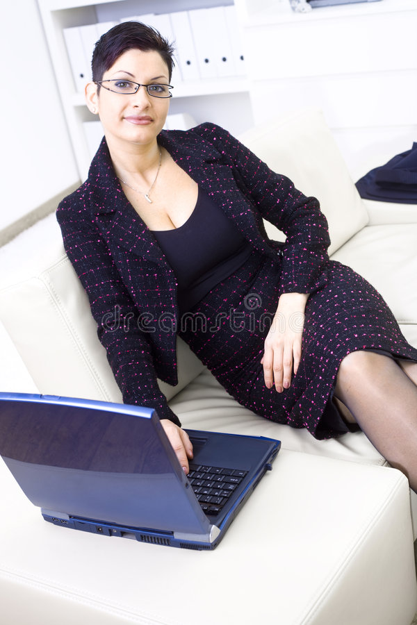 Businesswoman With Laptop Stock Images