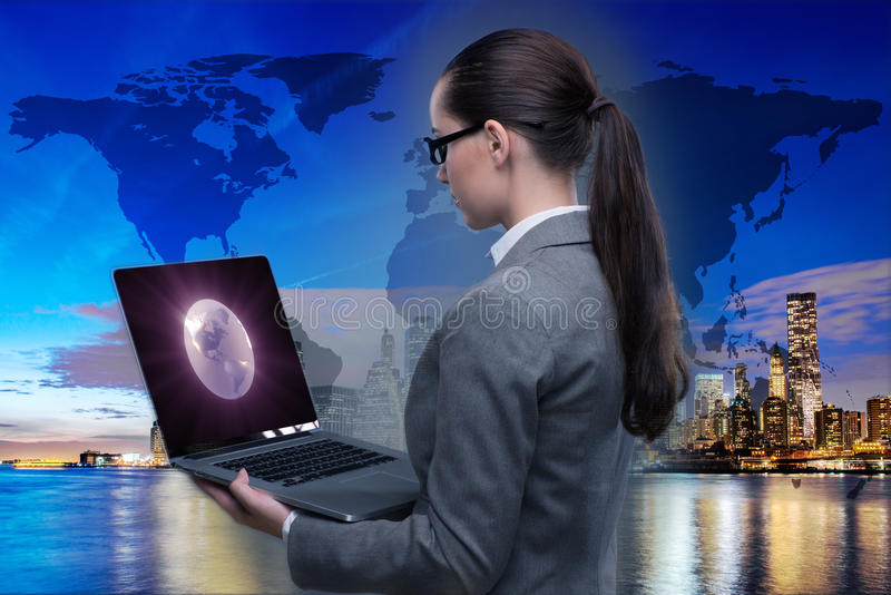 The businesswoman with laptop in global business concept. Businesswoman with laptop in global business concept royalty free illustration