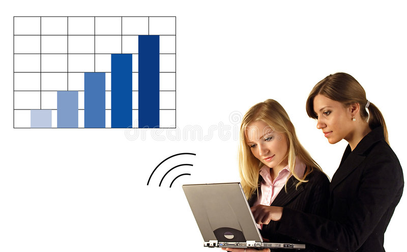 Businesswoman On Laptop Graph royalty free stock photo