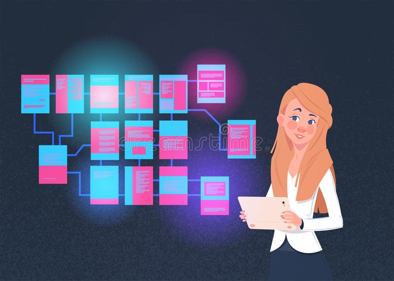 Businesswoman with laptop over site map suitable for info graphics, websites and print media and interfaces on dark. Background, Wireframe Structure Layout vector illustration