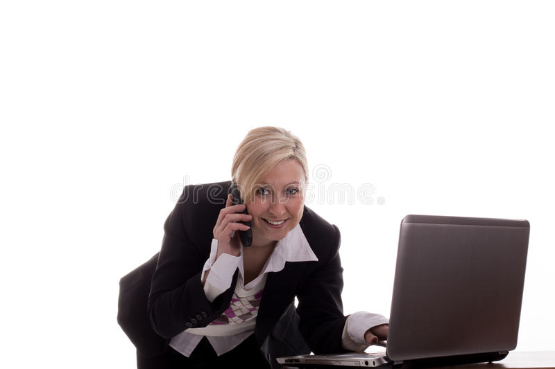 Download Businesswoman With Laptop And Phone Stock Photos - Image: 23307113