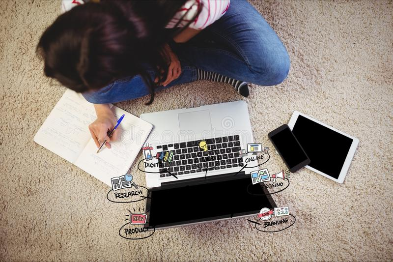 Businesswoman with laptop representing startup. Digital composite of Businesswoman with laptop representing startup stock image