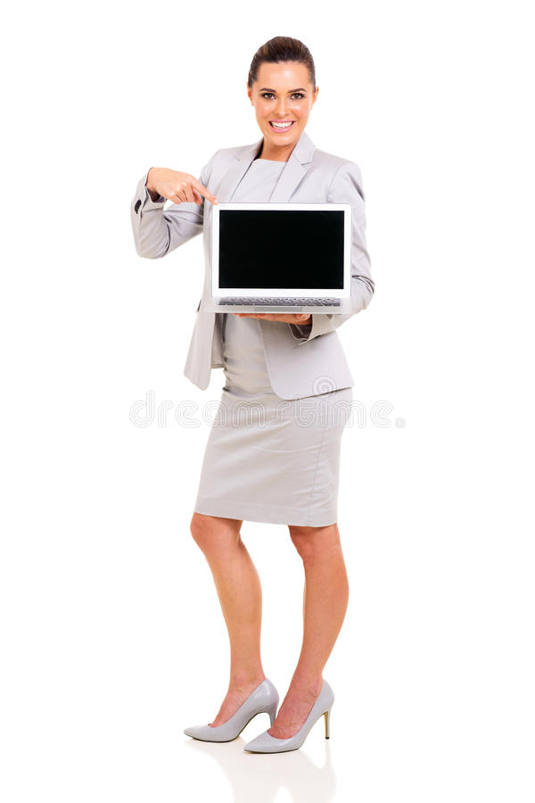 Businesswoman laptop screen stock image