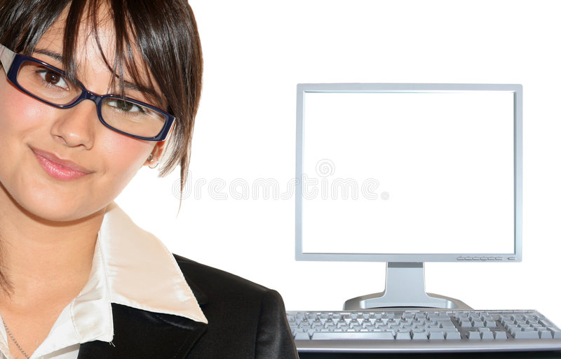 Businesswoman and lcd monitor. Young businesswoman and lcd on white background stock photos