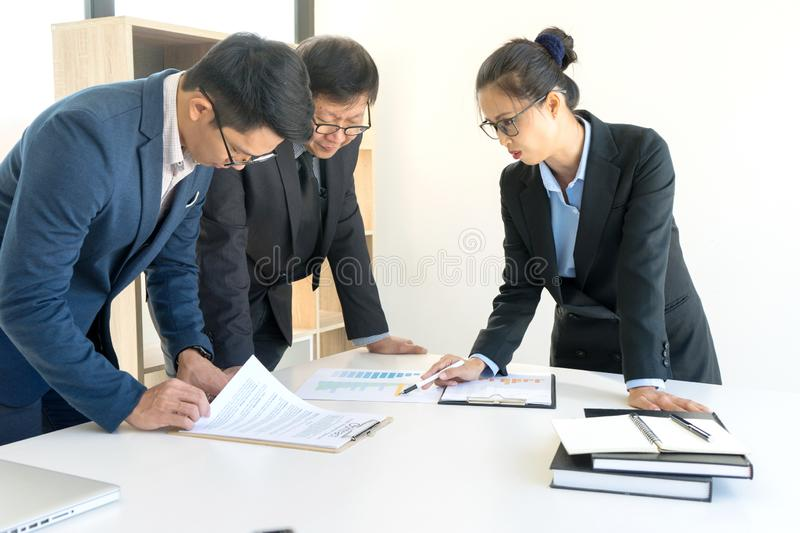 Businesswoman leader of the group in business teamwork royalty free stock photo