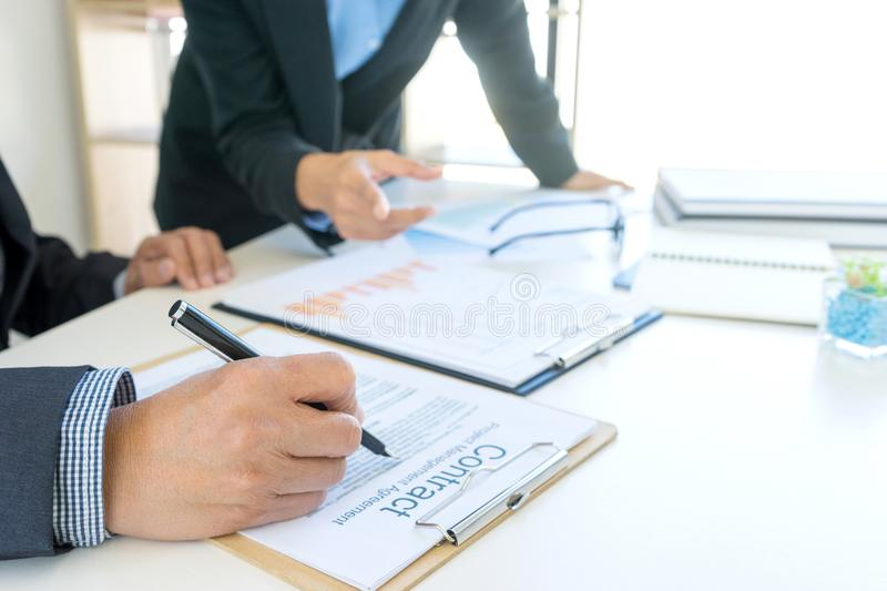 Businesswoman leader of the group in business teamwork. Concept woman leadership royalty free stock image
