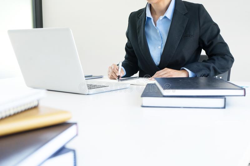 Businesswoman leader of the group in business teamwork. Concept woman leadership stock photos