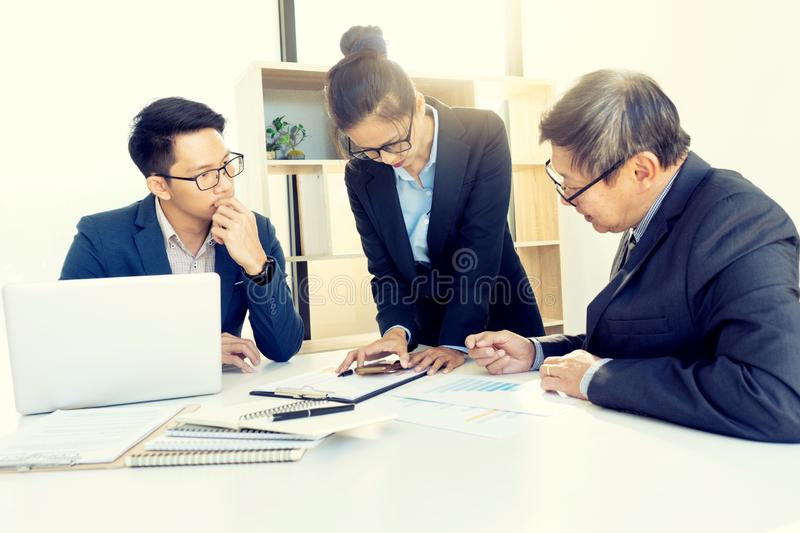businesswoman leader of the group in business teamwork stock photo