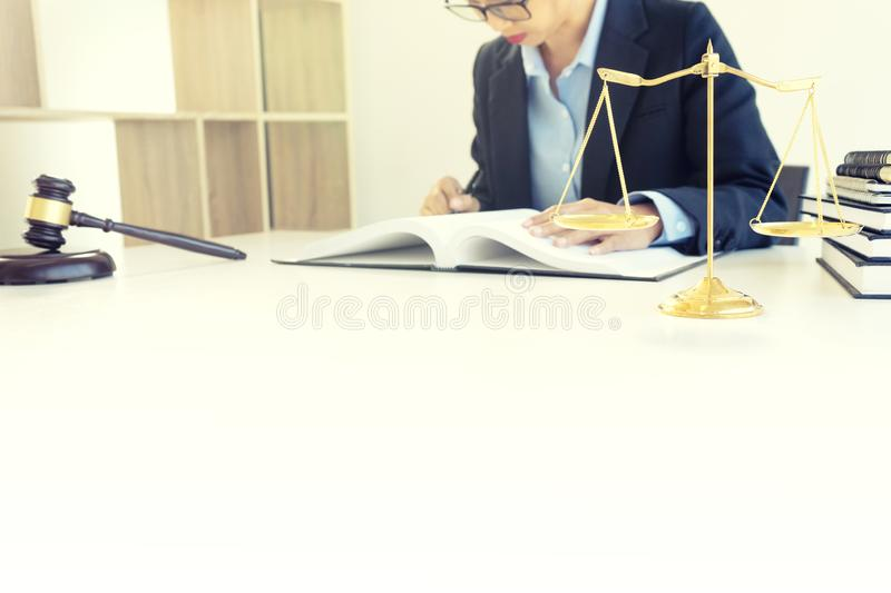 businesswoman leader of the group in law firm stock image